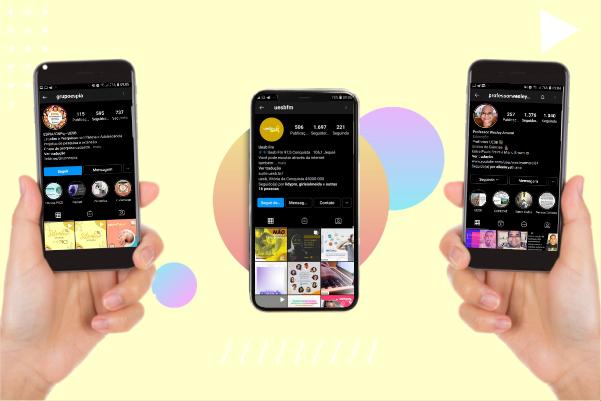 Arte digital com três mãos segurando três celulares iguais, e nas telas dos celulares é possível observar capturas de tela dos perfis do Instagram dos entrevistados